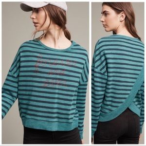 •SUNDRY• Anthro Teal Forever Split Back Sweatshirt